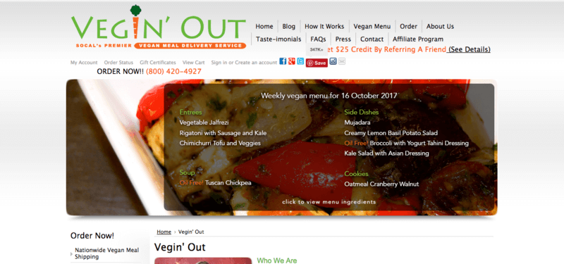 Vegin' Out website screenshot showing roast veges, with the company's menu overlaid on top.