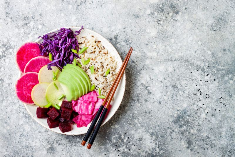A vegan protein bowl with vibrant colors