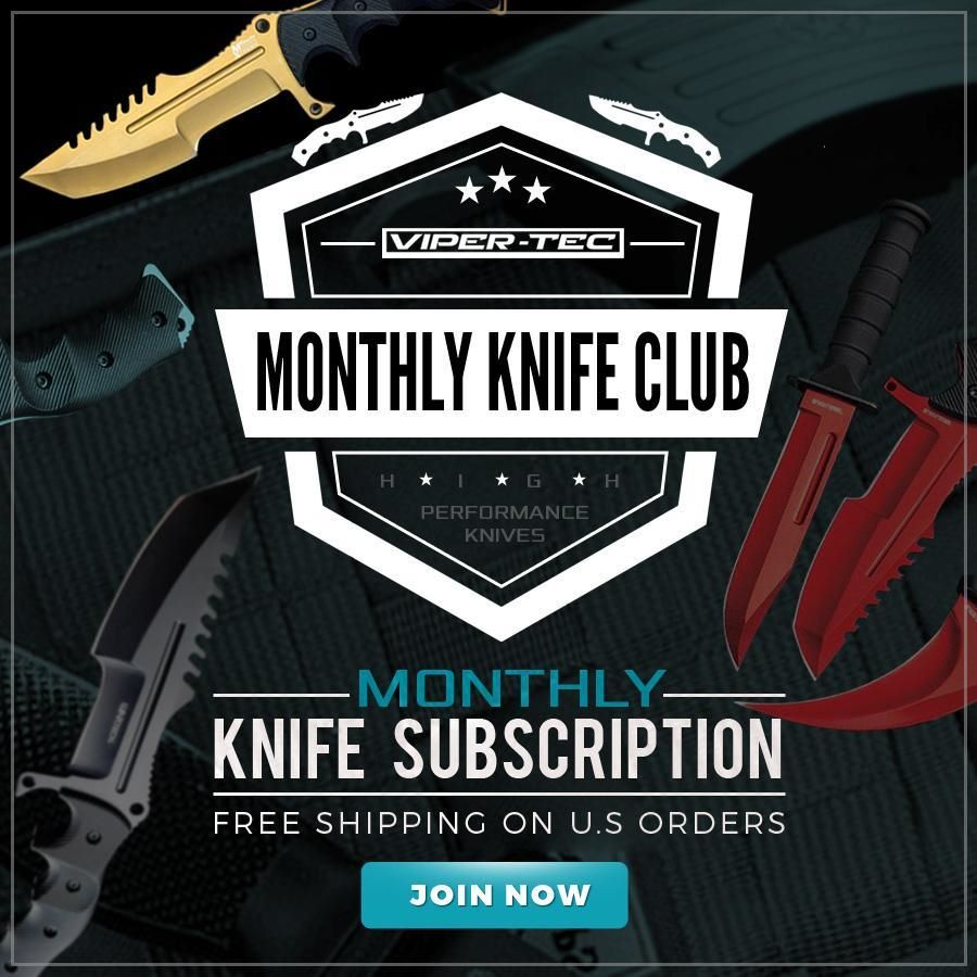 Viper tec logo in the middle of the phot with muted photos of knives in the background.  across the logo it says monthly knife club and below that it says High performance knives.  and below the logo it says monthly knife subscription free shipping on US orders.  and below that is a blue text box that says join now