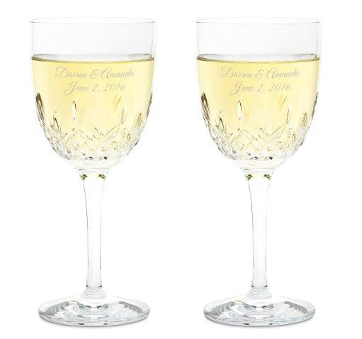 Set of two white wine glasses with a crystal-like structure