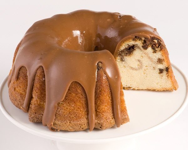 A bundt cake with caramel icing