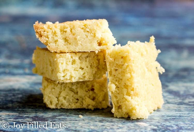 Four white chocolate blondies
