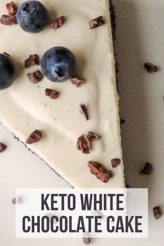 A slice of white chocolate cake with blueberries