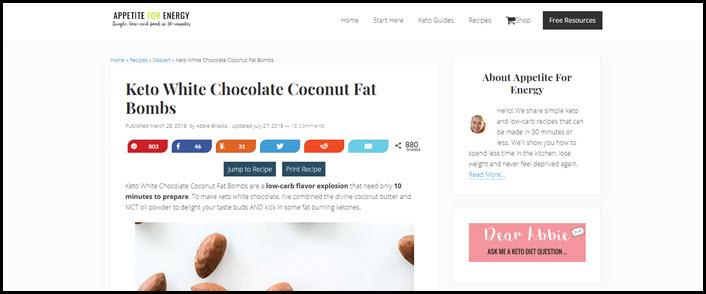 Website screenshot from appetite for awesome