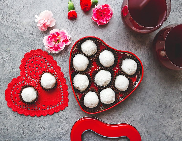 White chocolate truffles in a Valentine's box