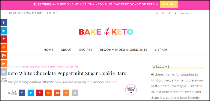 Website screenshot from Bake it Keto