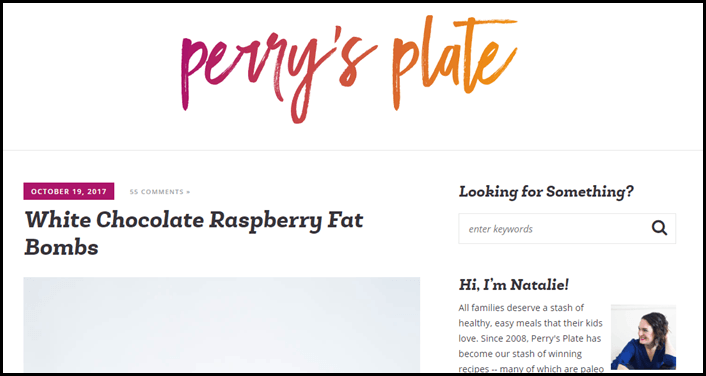 Website screenshot from Perry's Plate