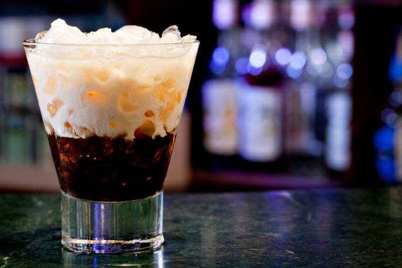 A white russian cocktail with cream