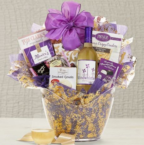 Gold and lavender basket with wine and cheese