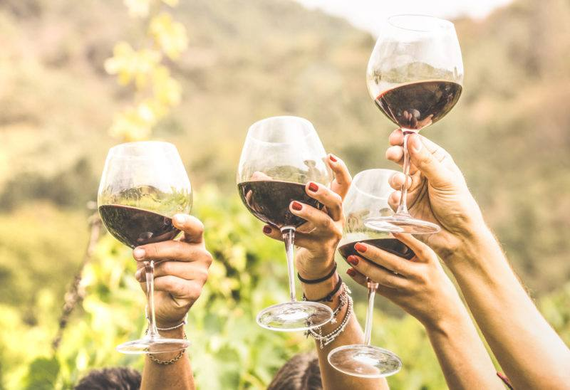 Four hands holding glasses of red wine in the air outside