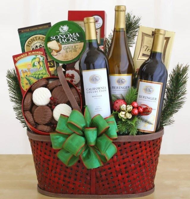 Christmas-themed wine basket