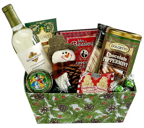 Green Christmas box with a snowman plushie, white wine and peppermint snacks