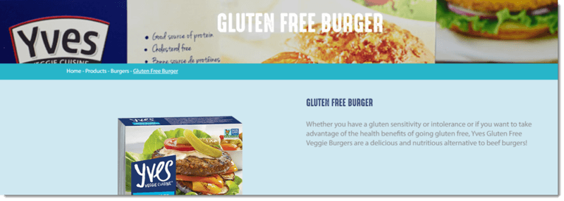 A screenshot from the Yves website, showing their gluten free burger patties