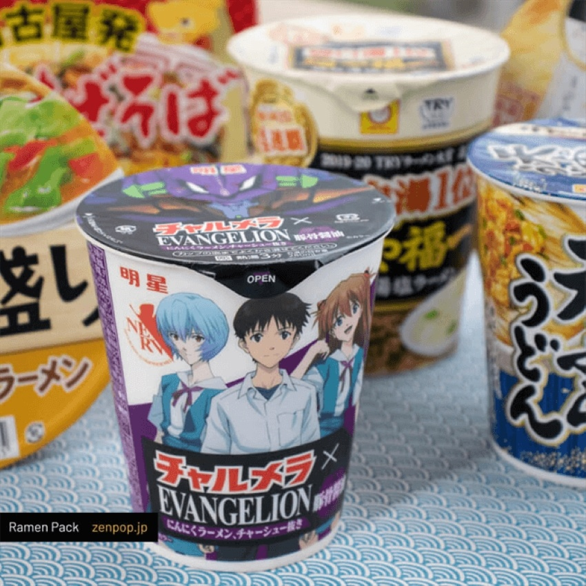 variety of instant ramen noodles, in the front a Japanese brand Evangelion,