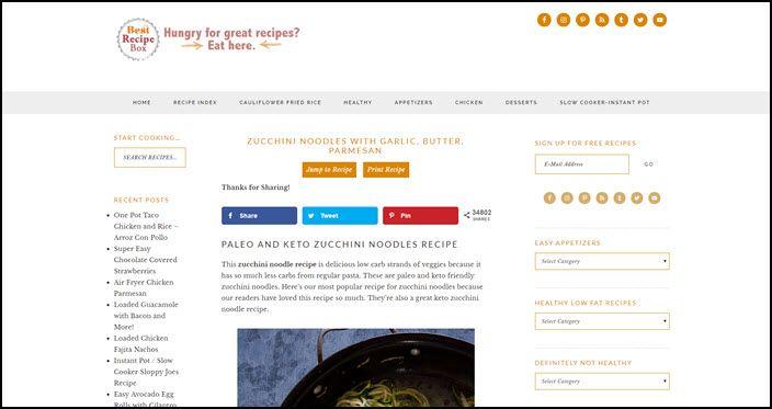 Website screenshot from Best Recipe Box