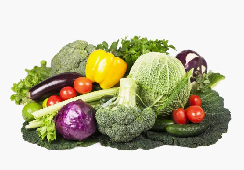 cabbage, tomatoes, cucumber, broccoli, bell peppers, eggplants, tomatoes, and broccoli on a white background