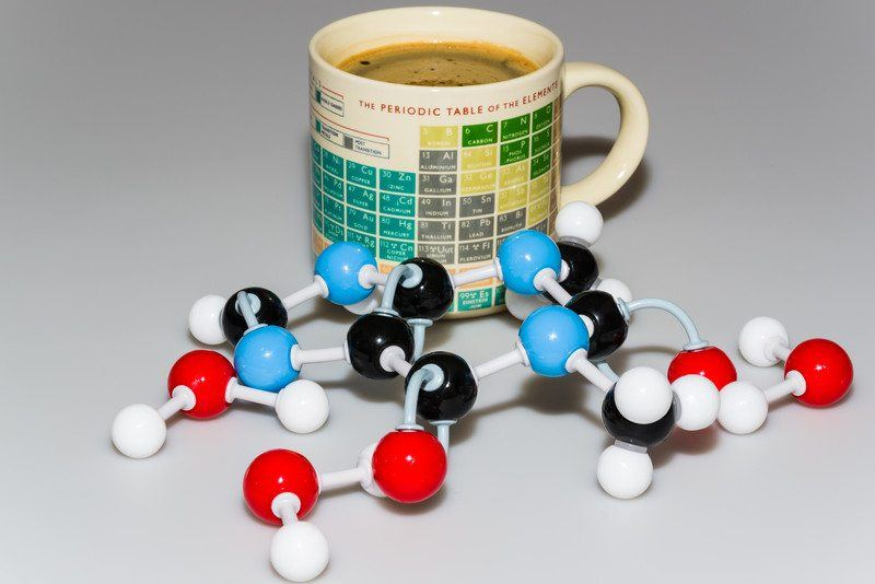 coffee cup with periodic table and caffeine molecule to show alternative sources caffeine