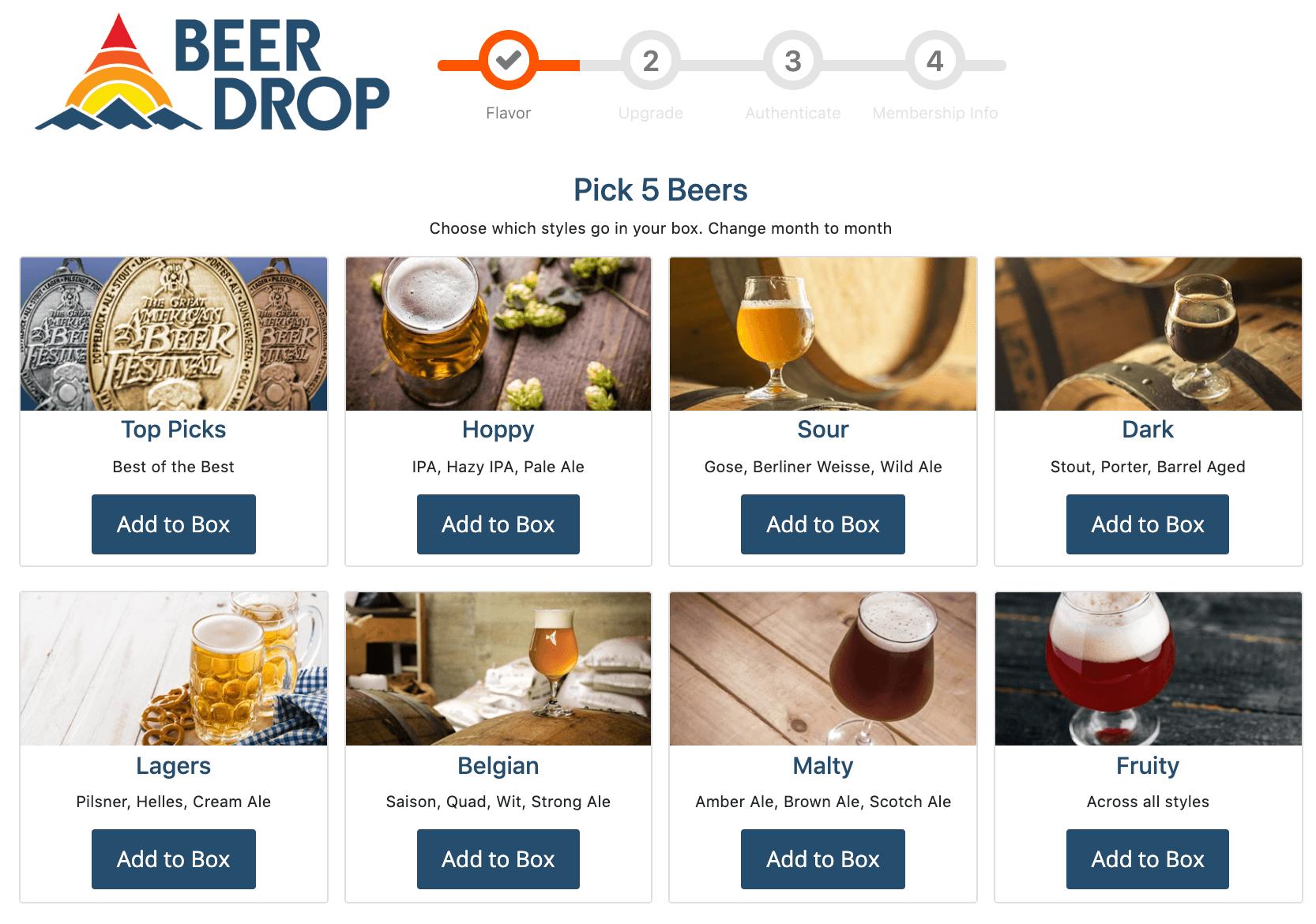 beer drop beer club screenshot with beer selection options