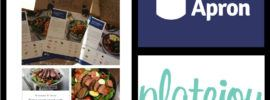 4 panel comparison with logos and meals from blue apron and platejoy