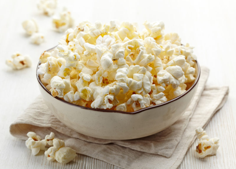 Plain popcorn in a bowl.
