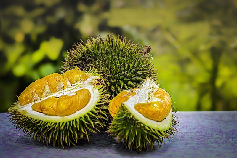 a broken up durian fruit on a table to represent where to buy fresh durian fruit online