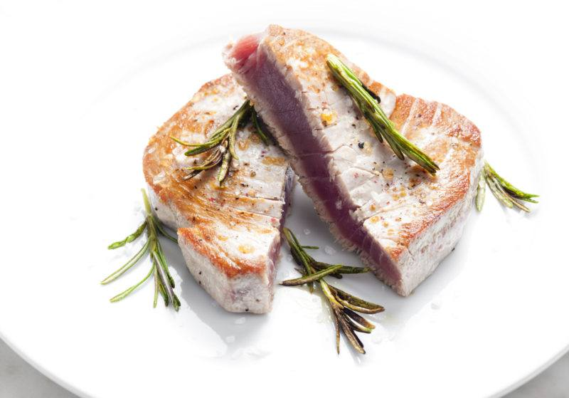 tuna steak cooked with cream and rosemary