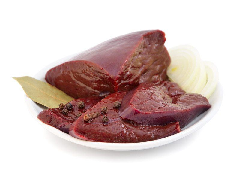 Liver on a white plate