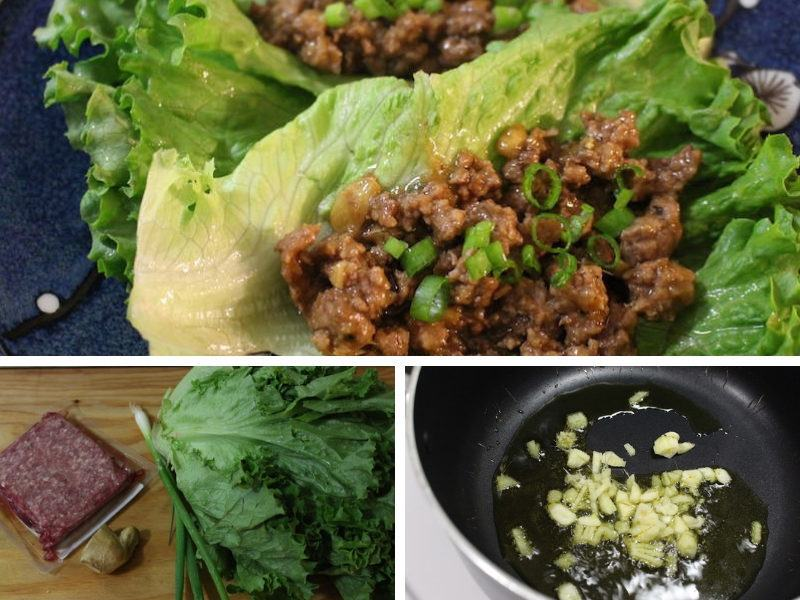 lettuce, ground beef, and korean barbecue sauce for a simple, tasty, and cheap meal
