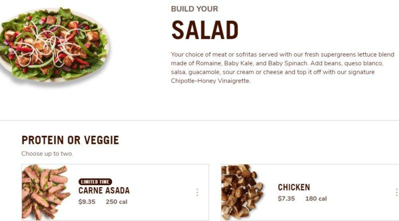 chipotle make your own salad