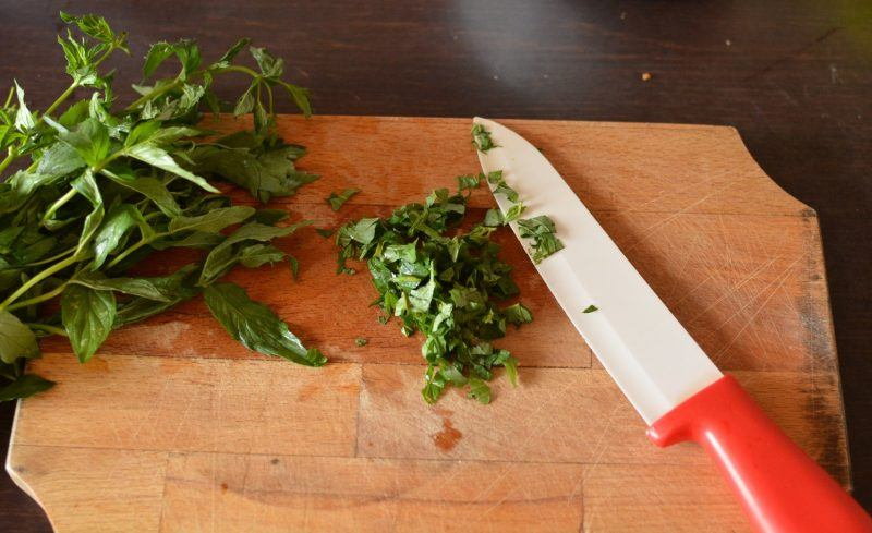 chopping the mint