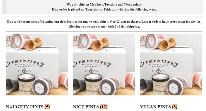 clementine's creamery delivery page