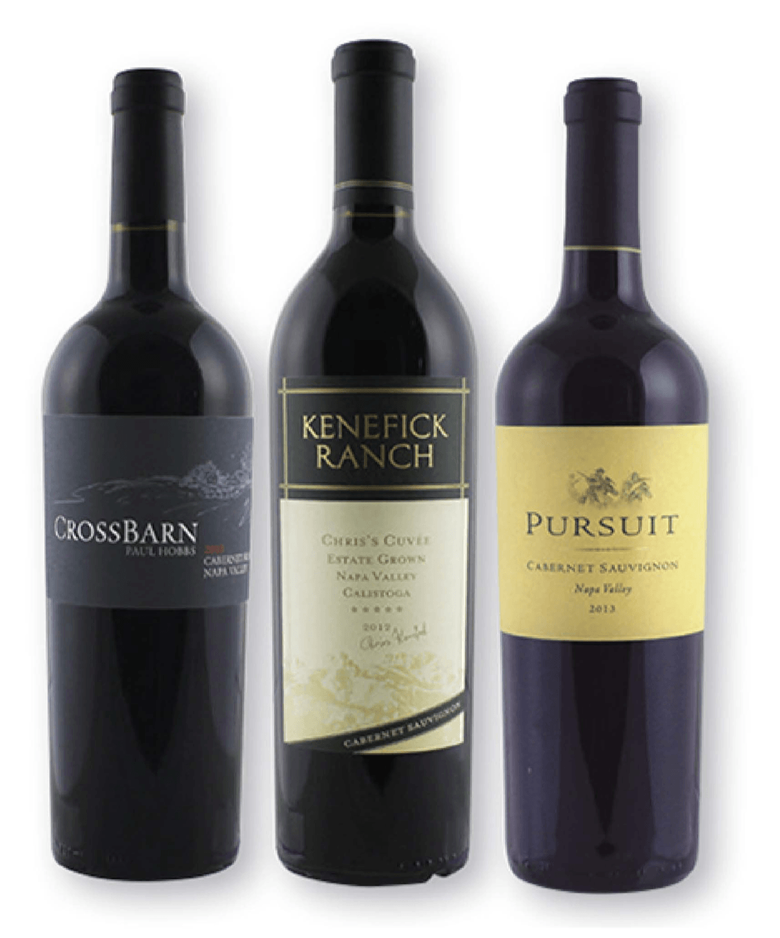 Three bottles of Cabernet from left to right - Cross Ban, Kenefick Ranch, Pursuit