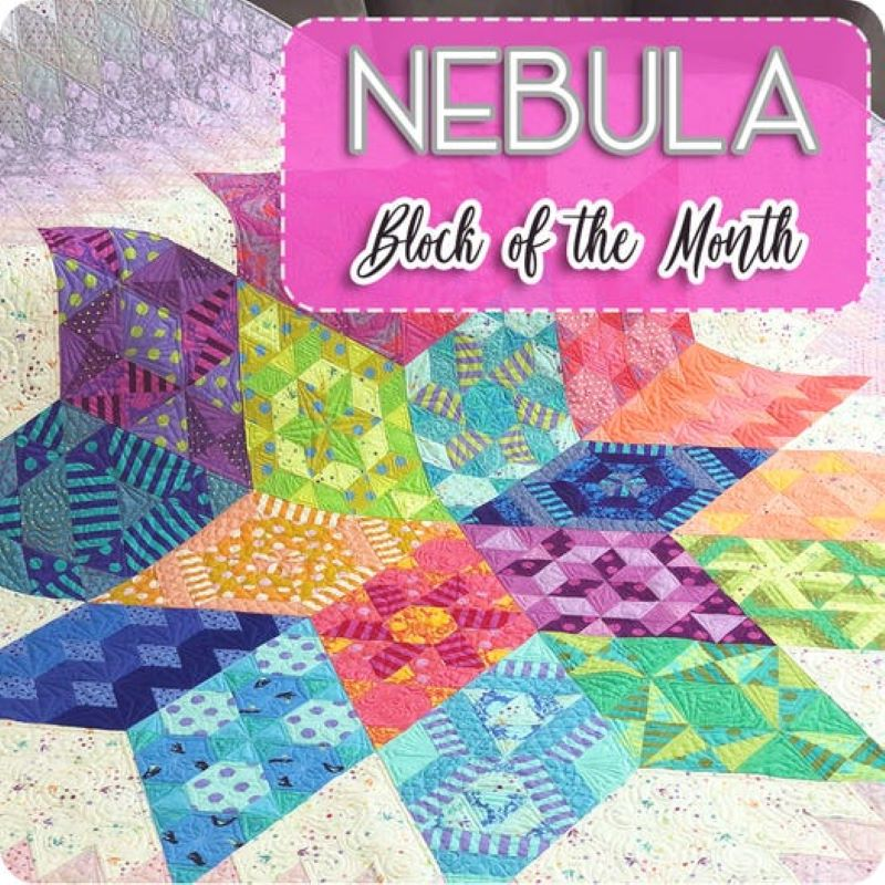 bright neon colored blocks of various shapes in the shape of a pinwheel with text in the upper right corner that says Nebula block of the month