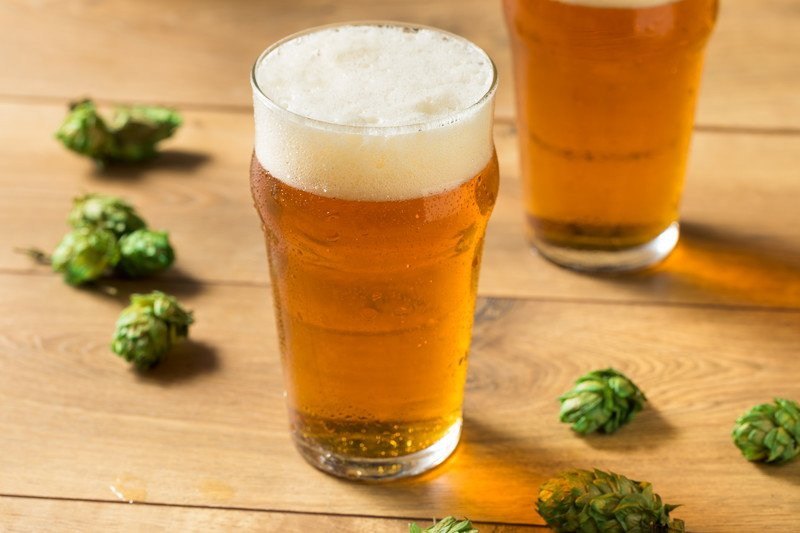 straw gold craft beer ipa with fresh hops on wooden table
