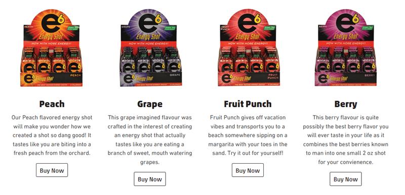 A website screenshot for e6 Energy Shot