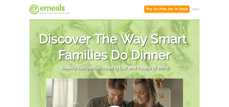 eMeals website screenshot showing a young family cooking, under text that says 'Discover the Way Smart Families Do Dinner'