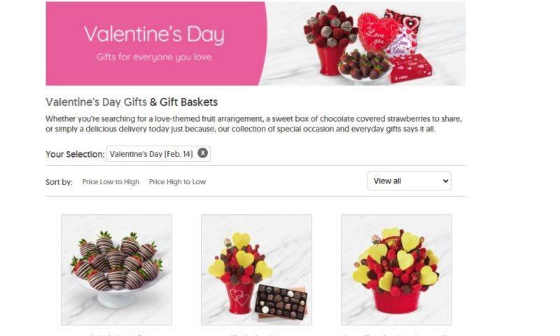 edible arrangements valentine's day page