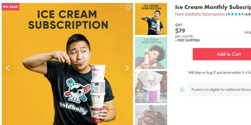 Goldbelly ice cream subscription page