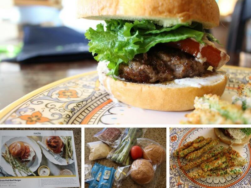 image of grass fed beef burger and cooking process including recipe notes, ingredients, and baked asparagus side