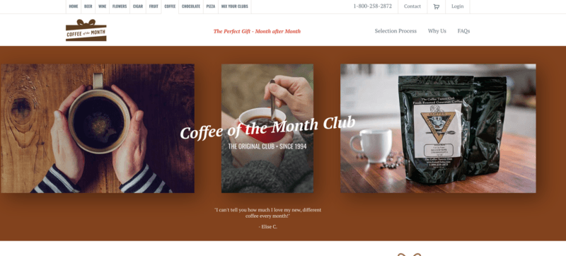 screenshot of the great clubs coffee of the month club