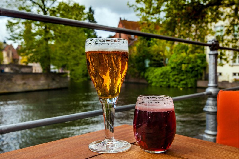 red lambic and golden ale hard to find belgian beer at river's edge