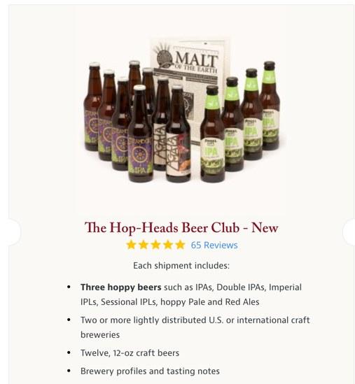 screenshot of the hop heads beer club