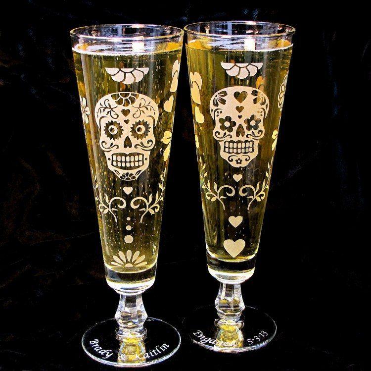 Sugar Skull Beer Glasses