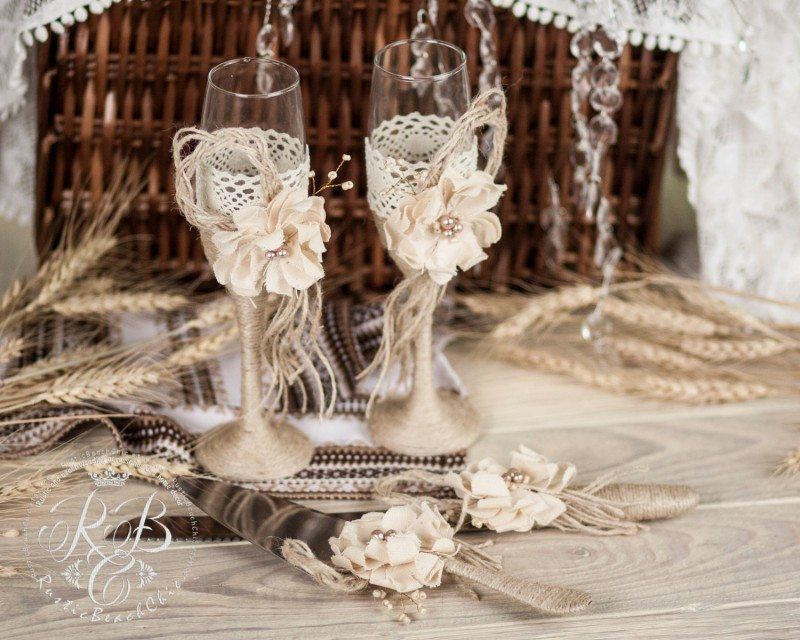 Rustic Chic Wedding Glasses