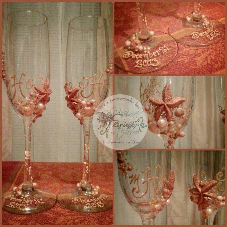 Underwater Themed Wedding Glasses