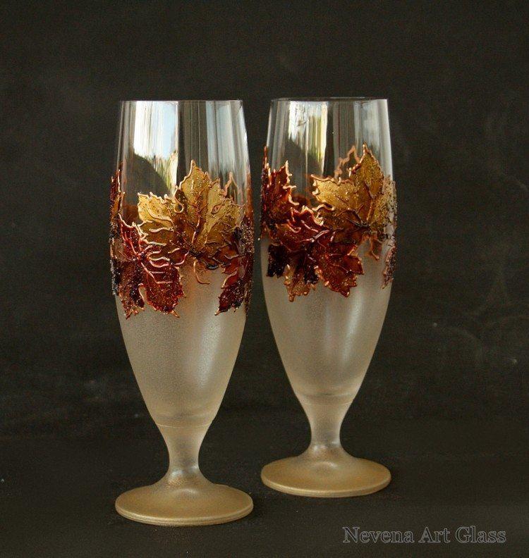 Autumn Beer Wedding Glasses