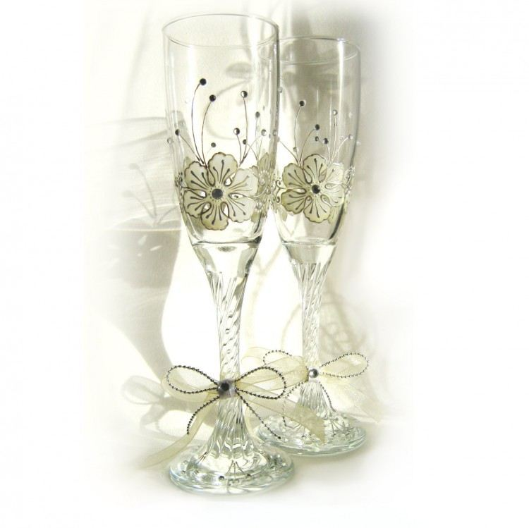 Hand Painted Wedding Glasses