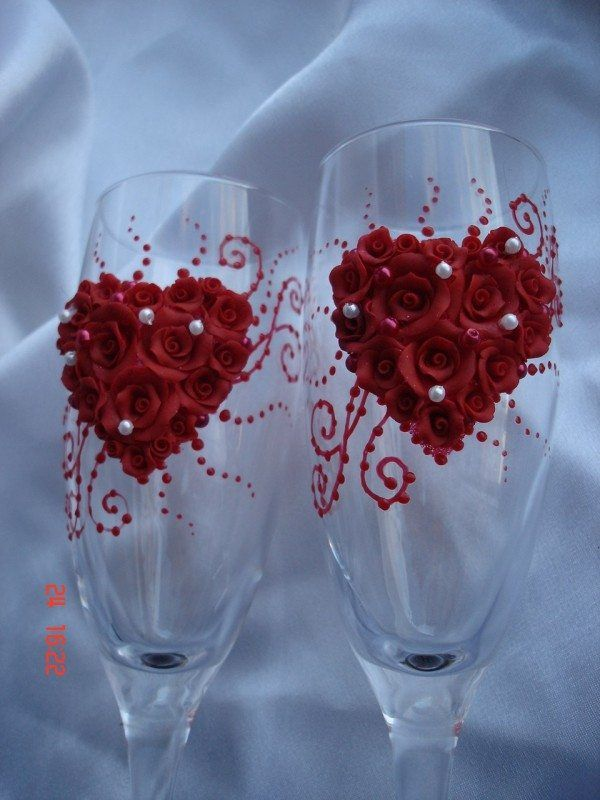 Heart Wedding Glasses