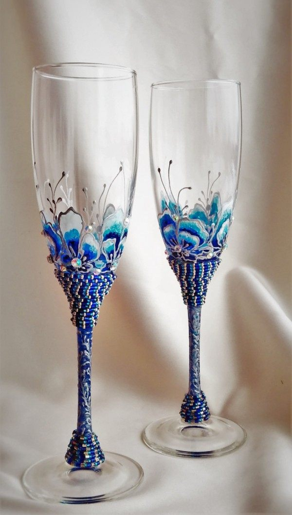 Beaded Champagne Flutes
