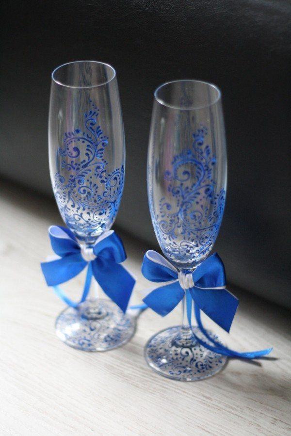 Pretty in Blue Wedding Glassware